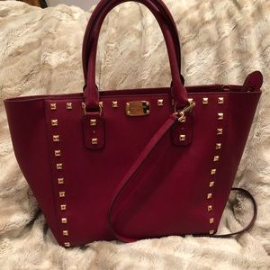Michael Kors red purse with satchel